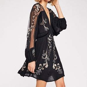 Free People Black Bonjour Embroidered Mini Dress